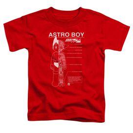 Astro Boy Schematics Short Sleeve Toddler Tee Red T-Shirt