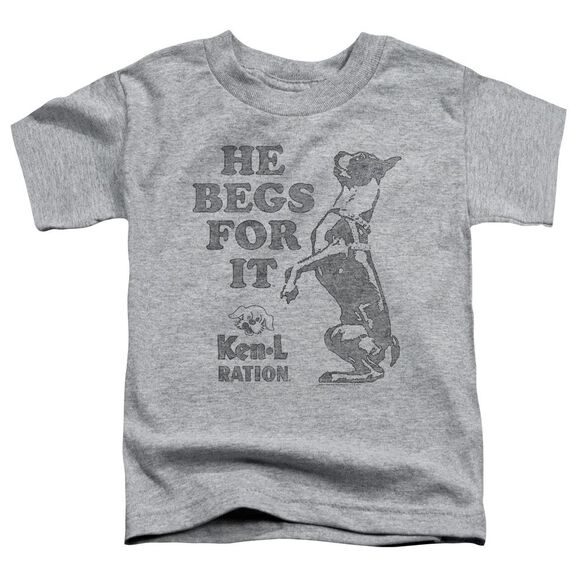 Ken L Ration Begs Short Sleeve Toddler Tee Athletic Heather Sm T-Shirt