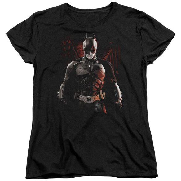 Dark Knight Rises Batman Battleground Short Sleeve Womens Tee Black T-Shirt