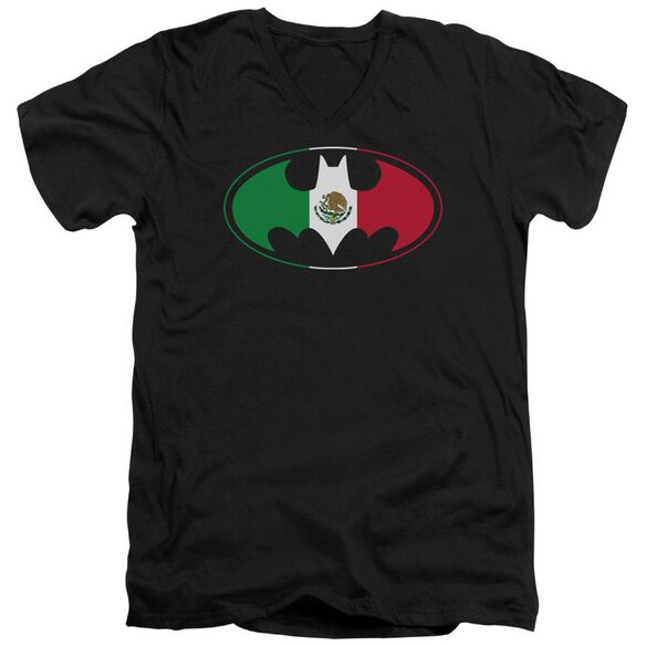 Batman Mexican Flag Shield Short Sleeve Adult V Neck T-Shirt