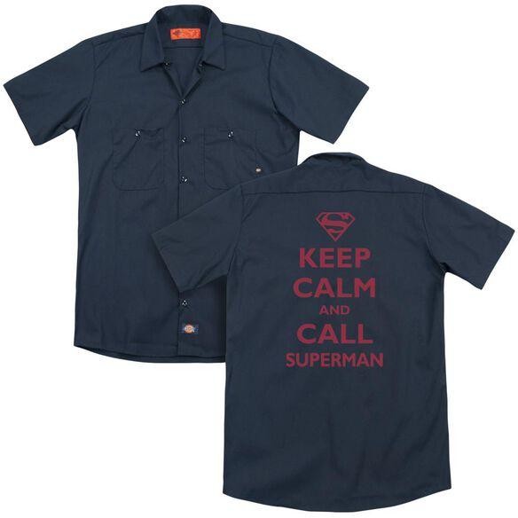 Superman Call Superman (Back Print) Adult Work Shirt