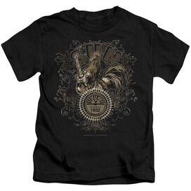Sun Scroll Around Rooster Short Sleeve Juvenile Black T-Shirt