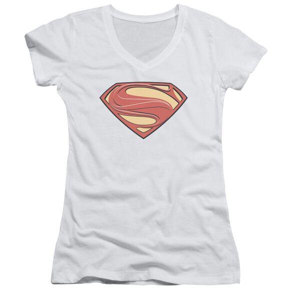 Man Of Steel New Solid Shield Junior V Neck T-Shirt