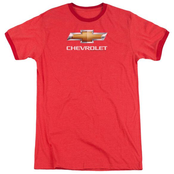 Chevrolet Chevy Bowtie Stacked Adult Heather Ringer Red