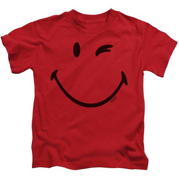 Smiley World Big Wink Short Sleeve Juvenile Red T-Shirt