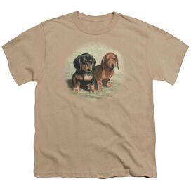 Wildlife Dachshund Pups Short Sleeve Youth T-Shirt