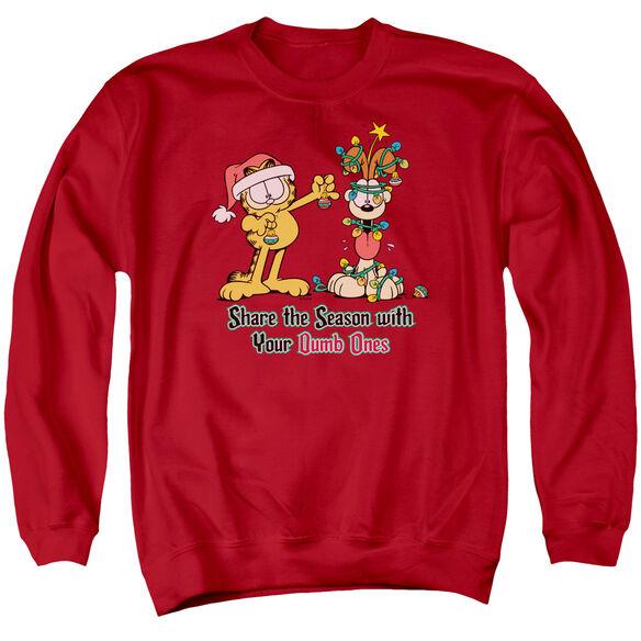 Garfield Share The Season - Adult Crewneck Sweatshirt - Red