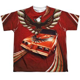 Pontiac Firebird Flames Short Sleeve Youth Poly Crew T-Shirt