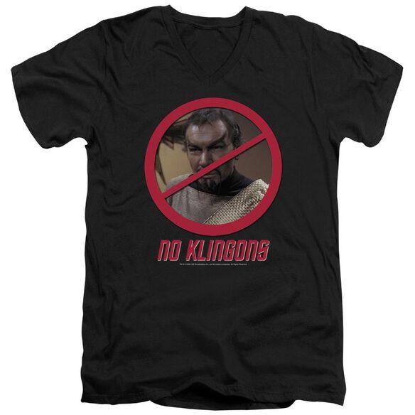 Star Trek No Klingons Short Sleeve Adult V Neck T-Shirt