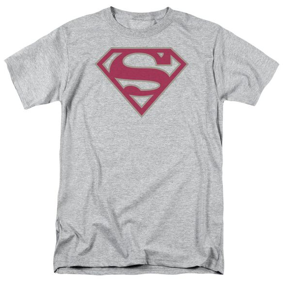 Superman Crimson & Gray Shield Short Sleeve Adult Athletic T-Shirt