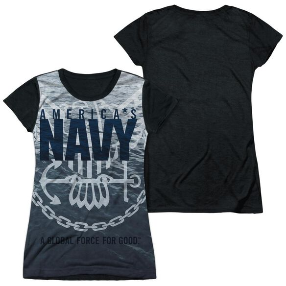 Navy Force For Good Short Sleeve Junior Poly Black Back T-Shirt