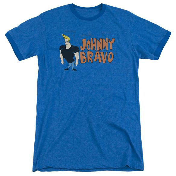 Johnny Bravo Johnny Logo Adult Heather Ringer Royal Blue