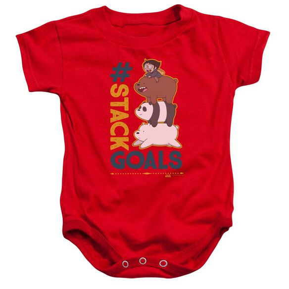 We Bare Bears Stack Goals Infant Snapsuit Red