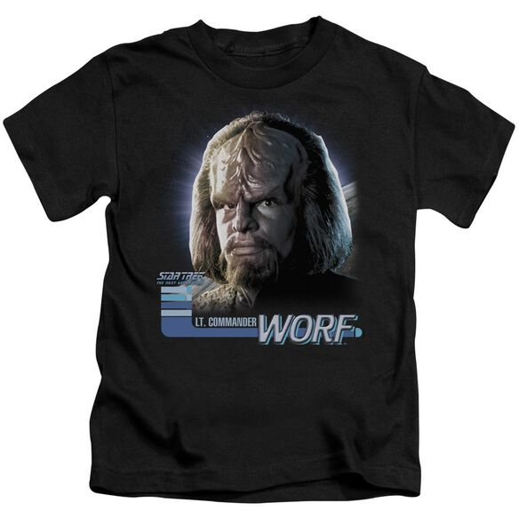 Star Trek Tng Worf Short Sleeve Juvenile Black T-Shirt