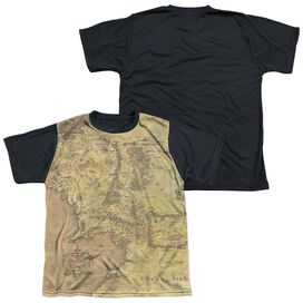 Lor Middle Earth Map Short Sleeve Youth Front Black Back T-Shirt