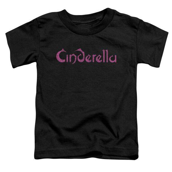 Cinderella Logo Rough Short Sleeve Toddler Tee Black T-Shirt
