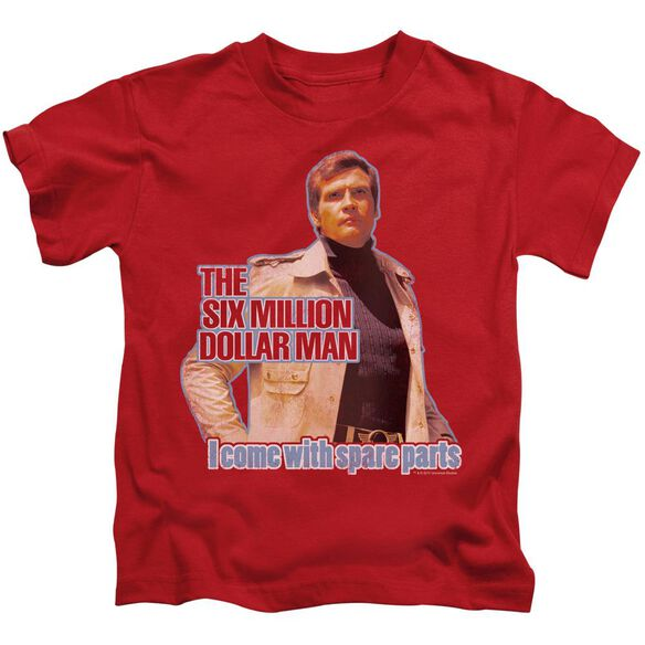 Six Million Dollar Man Spare Parts Short Sleeve Juvenile Red T-Shirt