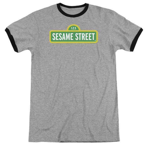 Sesame Street Logo Adult Ringer Heather Black