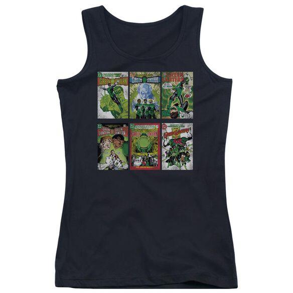 Green Lantern Gl Covers - Juniors Tank Top - Black