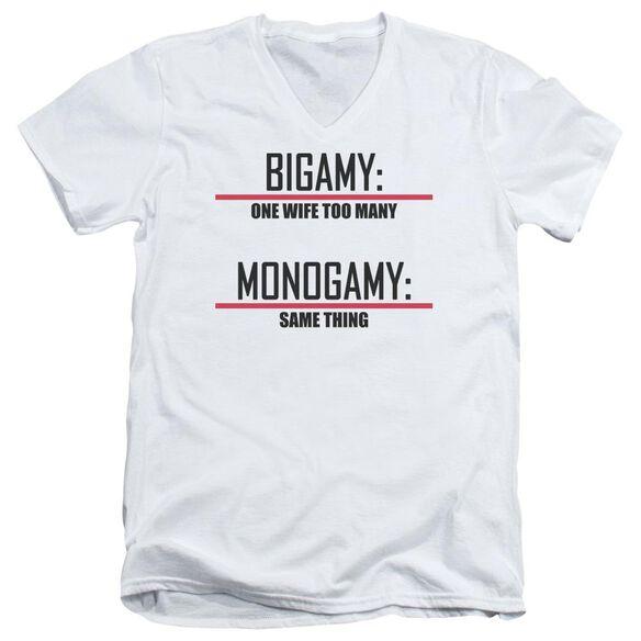 Bigamy & Monogamy Short Sleeve Adult V Neck T-Shirt
