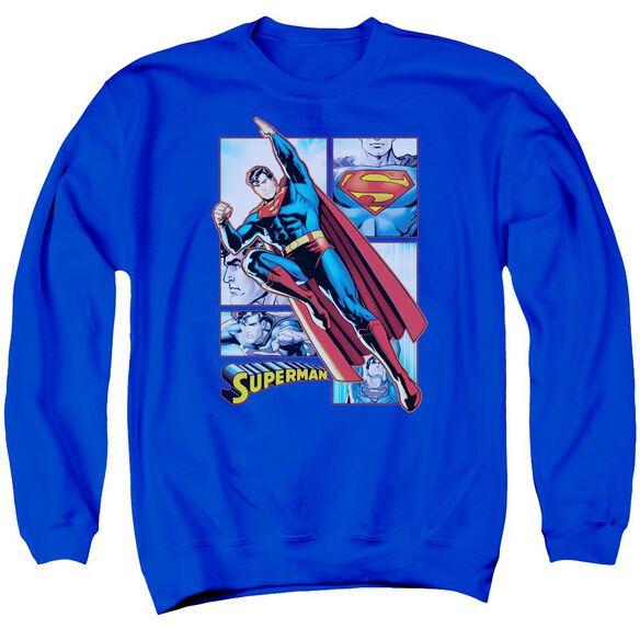 Jla Superman Panels Adult Crewneck Sweatshirt Royal