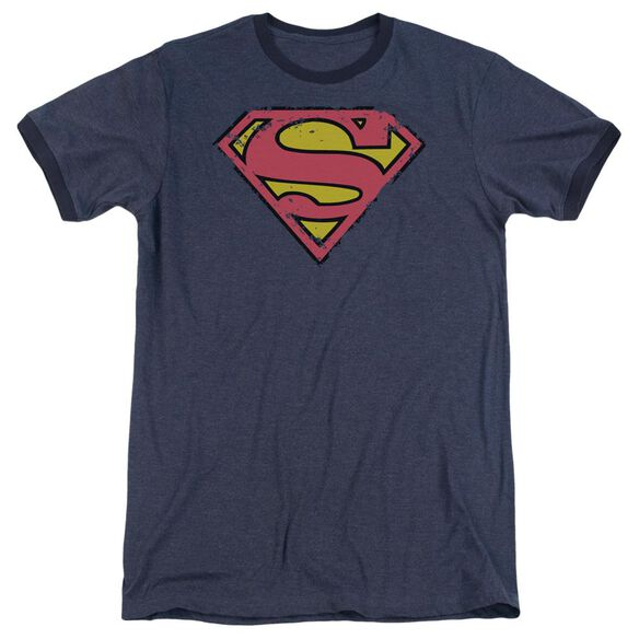 Superman Distressed Shield Adult Heather Ringer Navy