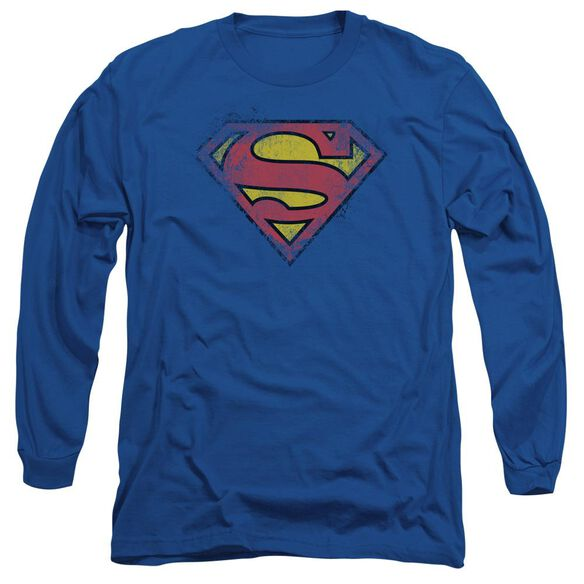 SUPERMAN DESTROYED SUPES LOGO - L/S ADULT 18/1 - ROYAL BLUE T-Shirt