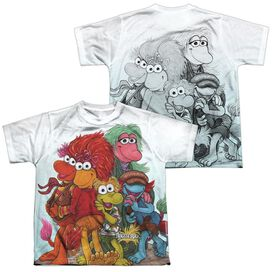 Fraggle Rock Group Shot (Front Back Print) Short Sleeve Youth Poly Crew T-Shirt