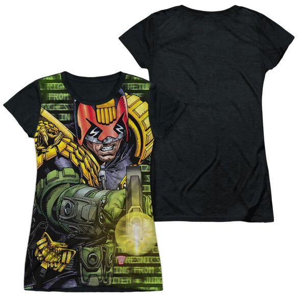 Judge Dredd Matrix Short Sleeve Junior Poly Black Back T-Shirt