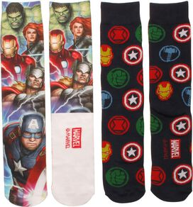 Avengers Dye and Knit 2 Pack Crew Socks Set