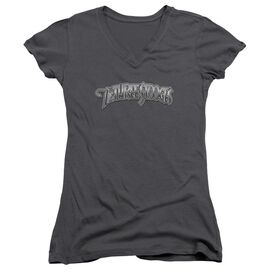 Three Stooges Metallic Logo Junior V Neck T-Shirt