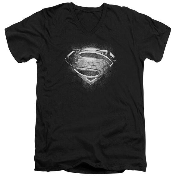 Man Of Steel Contrast Symbol Short Sleeve Adult V Neck T-Shirt