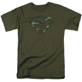 Superman Distressed Camo Shield Short Sleeve Adult Military T-Shirt