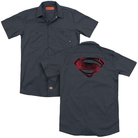 Man Of Steel Red And Black Glyph (Back Print) Adult Work Shirt