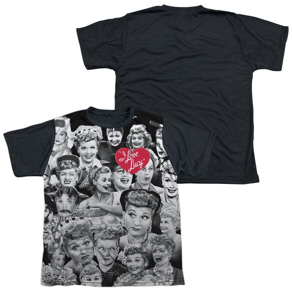 I Love Lucy Faces Short Sleeve Youth Front Black Back T-Shirt