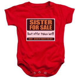 Sister For Sale - Infant Snapsuit - Red - Md