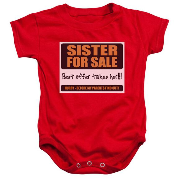 Sister For Sale - Infant Snapsuit - Red - Sm