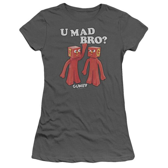 GUMBY U MAD BRO - S/S JUNIOR SHEER - CHARCOAL T-Shirt