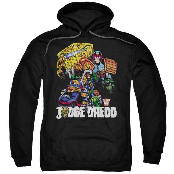 Judge Dredd Bike And Badge Adult Pull Over Hoodie