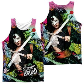 Suicide Squad Katana Psychedelic Cartoon (Front Back Print) Adult Poly Tank Top