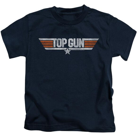 Top Gun Distressed Logo Short Sleeve Juvenile Navy T-Shirt