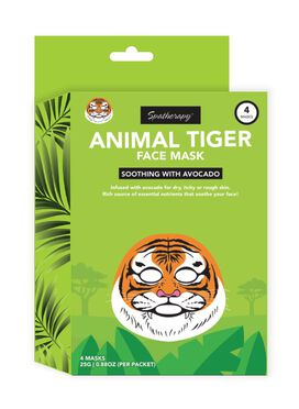 Spatherapy Animal Tiger With Avocado Face Mask - 4 Count