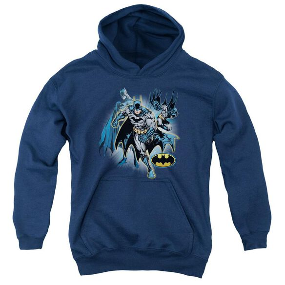 Jla Batman Collage Youth Pull Over Hoodie