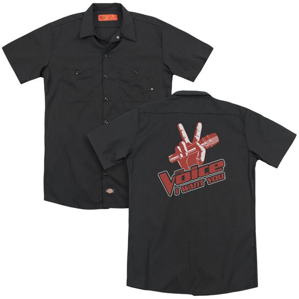 Voice Red And White (Back Print) Adult Work Shirt