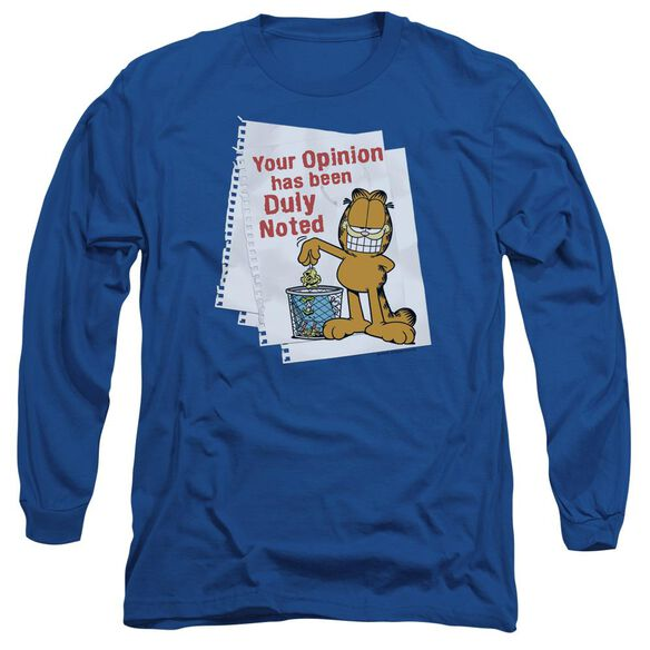 Garfield Duly Noted Long Sleeve Adult Royal T-Shirt
