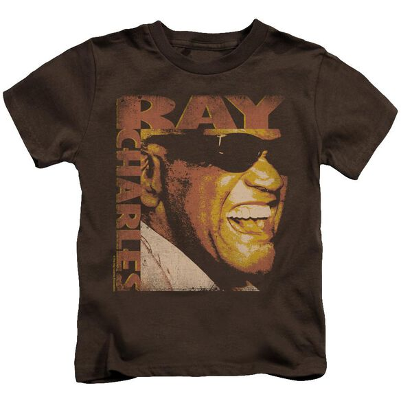 Ray Charles Singing Distressed Short Sleeve Juvenile Coffee T-Shirt
