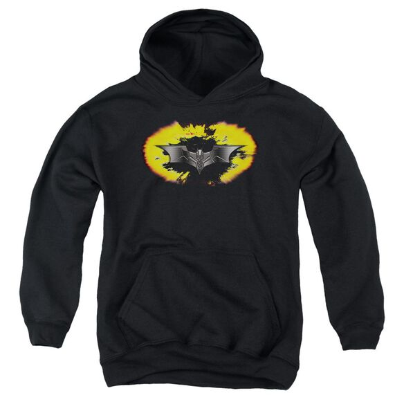 Dark Knight Armor Logo Explosion Youth Pull Over Hoodie
