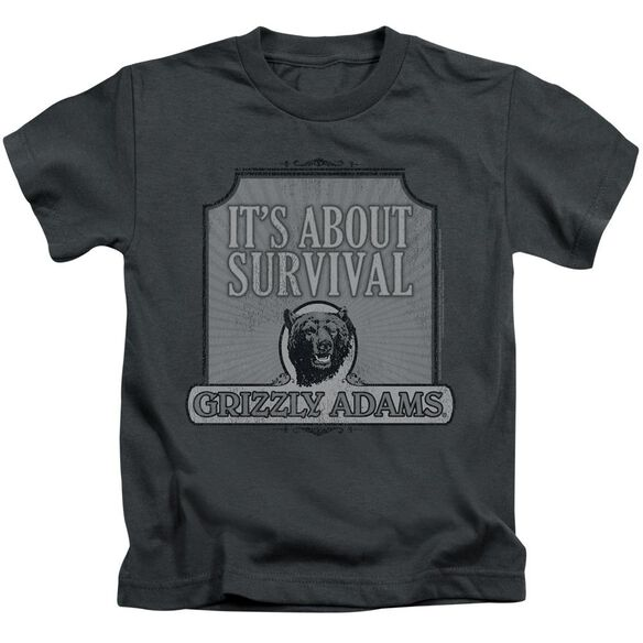 Grizzly Adams Survival Short Sleeve Juvenile Charcoal T-Shirt