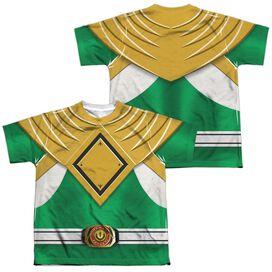 Power Rangers Green Ranger (Front Back Print) Short Sleeve Youth Poly Crew T-Shirt