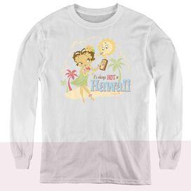 Betty Boop Hot In Hawaii - Youth Long Sleeve Tee